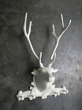 Metal Wall Mounted Large Stag Head Coat Hook 26 inches Deer Faux Taxidermy au