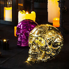 Gold Glass Battery Operated LED Skull Light Halloween Party Decoration Prop