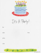 IT'S A PARTY! BIRTHDAY PARTY INVITATIONS Fill-In Adult Cards Cake Candles NEW