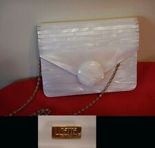 Vintage Lucite Mother of Pearl Evening Bag, LIZETTE NYC, Purse, Gold Tone Strap