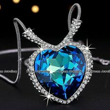 Heart Sapphire Necklace Christmas Gift for Her Daughter Mum Wife Girlfriend Girl