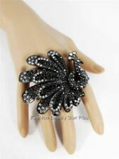 Crystal Peacock Flower Abstract Double Finger Ring