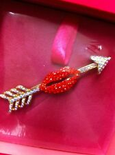 Butler & Wilson Red Crystal Lips & Arrow Brooch New & Box