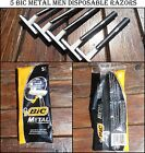 5 BIC METAL Mens Disposable Razors ( 1 pack of 5 shavers ) Free Shipping