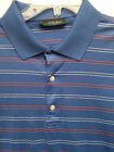 Men's Bobby Jones Golf Blue Orange White Stripe SS Polo Shirt Size L EUC!