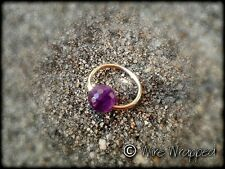 Captive Amethyst Bead Navel Belly / Nose / Septum Ring Hoop 14k Yellow Gold gf