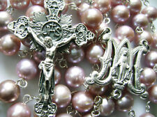 RARE PURPLE AAA 8-9MM REAL PEARL BEADS ROSARY CROSS NECKLACE GIFT BOX CATHOLIC
