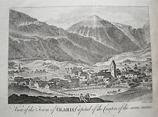 Glarus Glaris Schweiz  seltener echter  alter  Kupferstich um 1770