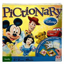 DISNEY PICTIONARY BOARD GAME Fast Paced Card Grabbing Action Edition Mickey