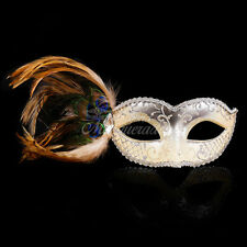 Light Gold & Silver Peacock Masquerade Mask w/ Feathers for Women