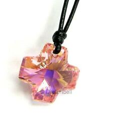 Cross Pendant Charm Leather Adjustable Necklace use Swarovski Elements Crystal