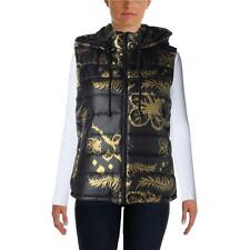 Cynthia Rowley 9278 Womens Black Quilted Floral Print Outerwear Vest M BHFO