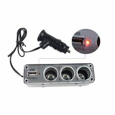 3 Way12V Multi Socket Car Cigarette Lighter Splitter USB DC Charger Adapter LO