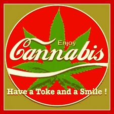 "2.5"" Funny Marijuana sticker. Coca-cola CANNABIS have a toke. 420 For your bong"
