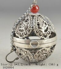 TIBET SILVER PLATED CARVED HOLLOW OUT DRAGON HAND OLD THE CRICKET CAGE BALL