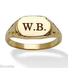 MENS WOMENS 14K GOLD PLATED PERSONALIZED INITIAL RING SIZE  6 7 8 9 10 11 12 13