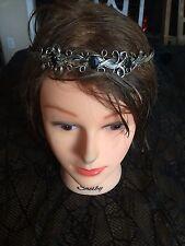 Silver with black stones headpiece/tiara, renaissance, larp