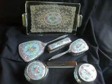 Vintage1940s Dressing Table/Vanity Set = tray brushes mirror comb+2 powder bowls