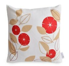 """Red, Beige, White Modern FLORAL Decorative Cushion Cover 100% Cotton 16"""" Pillow"""