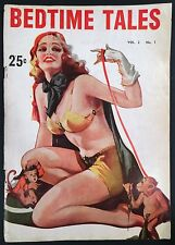 """1930s """"BEDTIME TALES"""" SPICY PULP MAGAZINE w/ PHOTOS - ENOCH BOLLES ART - RACY"""
