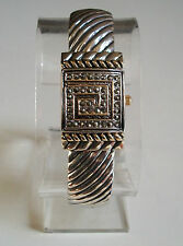 Gold/Silver Finish Vintage Style Marcasite Women's Covered Face Bangle  Watch