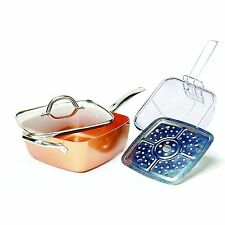 Copper Square Pan,Induction Chef Glass Lid,Fry Basket,Steam Rack,4piece set!