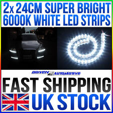 2x 24cm FLEXIBLE BRIGHT WHITE 6000K LED STRIPS INTERIOR MOD / MOOD LIGHTING