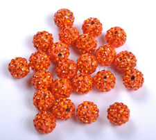 10pcs Sun Crystal Rhinestones Pave Clay Round Disco Ball Spacer Beads 10MM