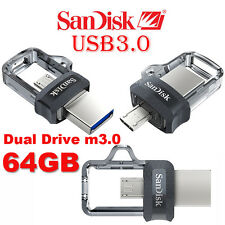 NEW SanDisk Ultra 64GB USB OTG Dual Drive m3.0 for Android Devices and Computers
