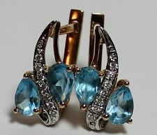 Earrings Ohrringe blue Topaze Blautopas + Diamonds rot Gold 585er 14 K schön!