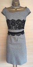 Exquisite karen millen carreaux laine dentelle wiggle robe Uk10