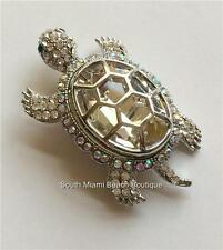 Silver Plated Crystal Sea Turtle Pin Brooch Life Large Sparkly Nautical Beach