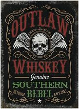Outlaw Whiskey Pub Bar Man Cave Biker Shed Old Advertising Large Metal/Tin Sign