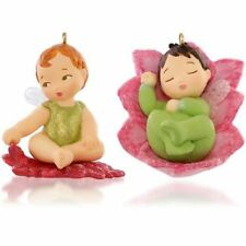 """2015 Hallmark """"Lotus and Poinsettia"""" Ornament #1 Baby Fairy Messengers Red Green"""