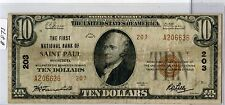1929 $10 Nbn #203 (#873) First Nb St. Paul, Mn. Type 2. Some Stains. First Chart