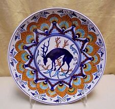 """LG Vintage Faenza Italy 12"""" Hand Painted Deer Pattern Charger Cabinet Wall Plate"""