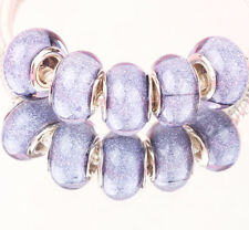 10PCS SILVER MURANO LAMPWORK charm beads fit European Bracelet wholesale WW069