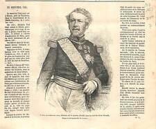 Mort d'Adolphe Niel Marechal France ANTIQUE PRINT GRAVURE 1869