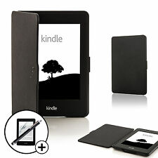 De Cuero Negro Smart Funda Para Amazon Kindle Paperwhite 2015 + Screen Prot Stylus