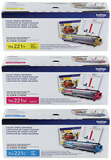 GENUINE OEM BROTHER TN221C TN221Y TN221M TONER SET (3-PACK) MFC-9340CDW NEW