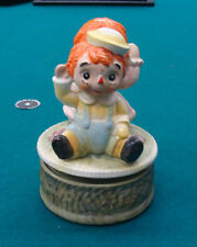 """Vintage Raggedy Ann and Andy Revolving Figural Music Box plays """"This Old Man"""""""