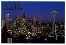 Seattle Skyline Washington Postcard Space Needle Night Lights Skyscrapers New