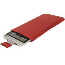 Rouge Étui Housse Case Cover Pochette en cuir pour HTC One M7 Android Smartphone