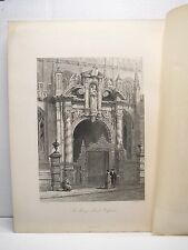 ST. MARY'S PORCH OXFORD Steel Engraving by S. Read 1800's