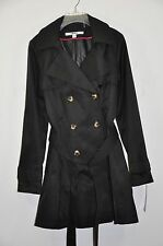 NWT Women DKNY Hooded Double-Breasted Trench Coat. Sz.M