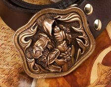 COOL Handmade Bronze Angel Tyrael Relief Men Belt Buckles Cowhide Leather OP96
