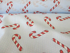 Light Blue Polkadot with Candy Cane, Christmas Printed Polycotton Fabric