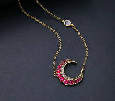 Fashion Betsey Johnson Jewelry Red Rock Crystal moon pendant necklace A305