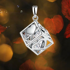 Fantastic Womens 925 Sterling Silver Love Cube Hollow Pendant No Chain Jewelry