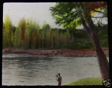 Glass Magic lantern slide MAN FISHING ON RIVER C1920 NEW ZEALAND L65 .